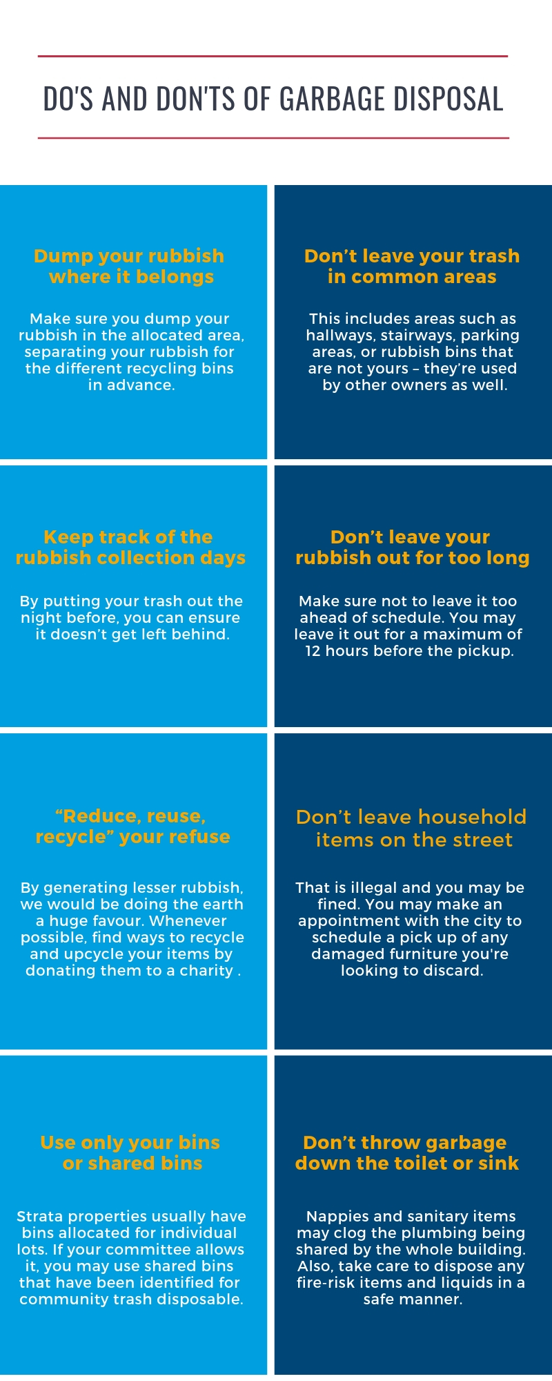 Dispose garbage in strata property and apartments