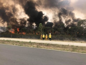 Andrew and fellow RFS crew fighting Sydney's fires