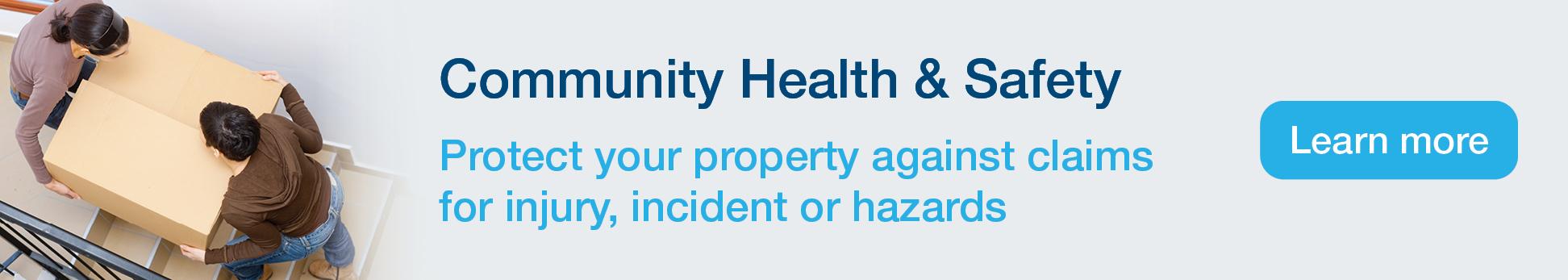 Community Health & Safety promo banner