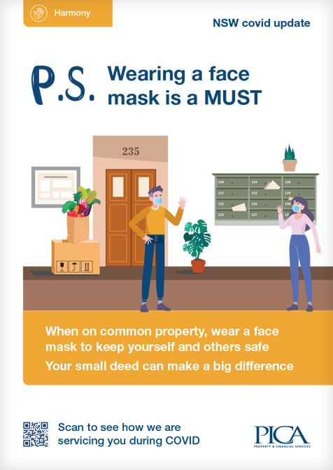 COVID strata poster - Masks on common property